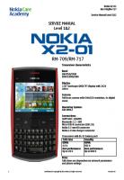 Nokia X2-01 RM-709, 717 - Руководство по обслуживанию (service manual L1&L2)