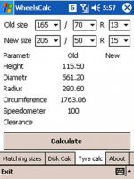 Скриншот WheelsCalc 1.0