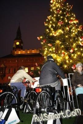 Энергию для копенгагенской ёлки генерируют велосипеды
