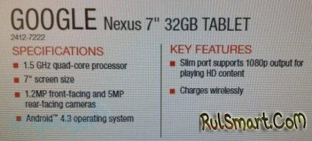 Nexus 7 второго поколения: технические характеристики