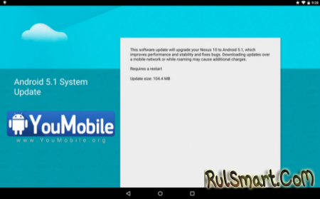 Google Nexus 10 обновляется до Android 5.1