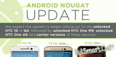 Какие смартфоны HTC получат Android 7.0 Nougat?