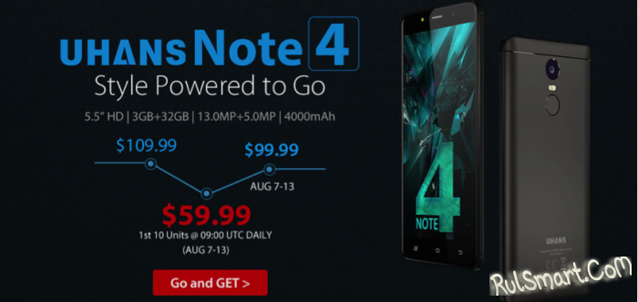 UHANS Note 4 — клон смартфона Xiaomi Redmi Note 4 по цене $59,99