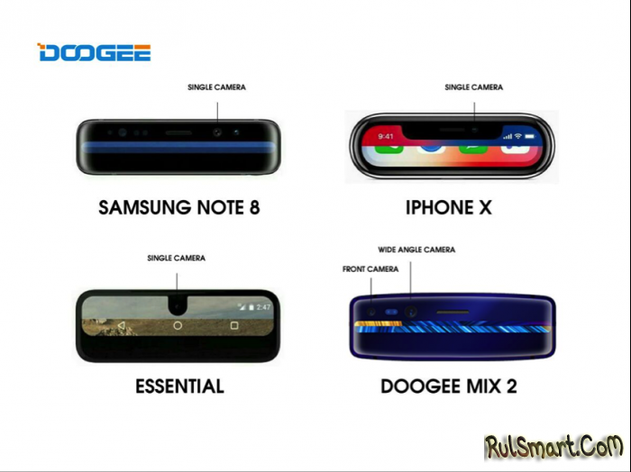 DOOGEE MIX 2 — самый дешевый смартфон с системой распознавания лица