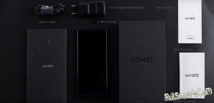 Распаковка смартфона Maze Comet с безрамочным дисплеем и USB Type-C