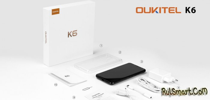 Распаковка стильного смартфона OUKITEL K6 на Android 7.1.1 Nougat
